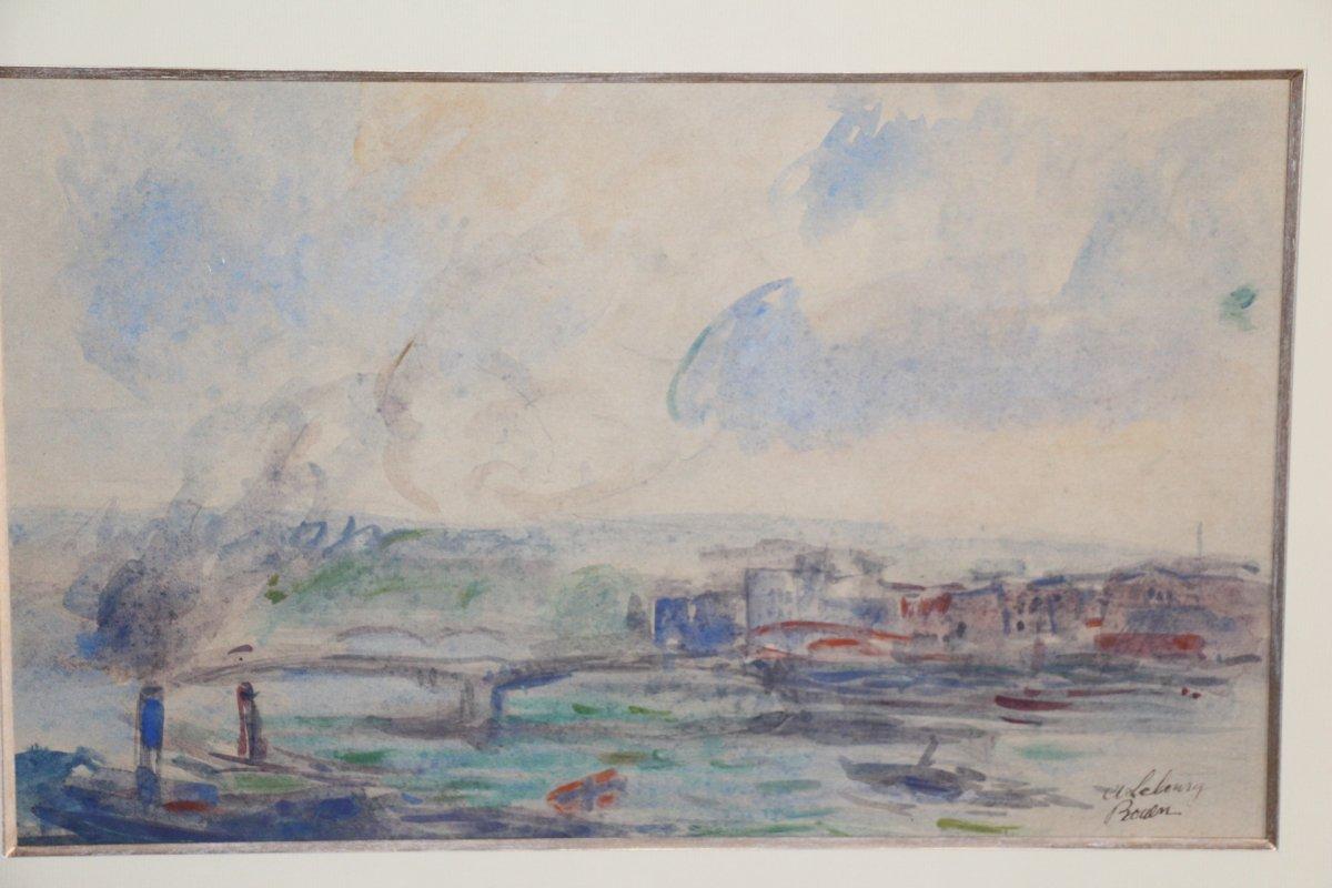 Albert LEBOURG, (1849-1928 ), aquarelle sur papier représentant la ville de Rouen, XIXe siècle.-photo-1