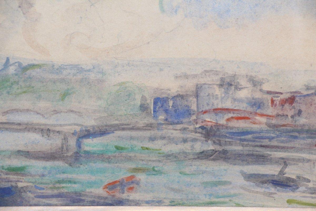 Albert LEBOURG, (1849-1928 ), aquarelle sur papier représentant la ville de Rouen, XIXe siècle.-photo-2