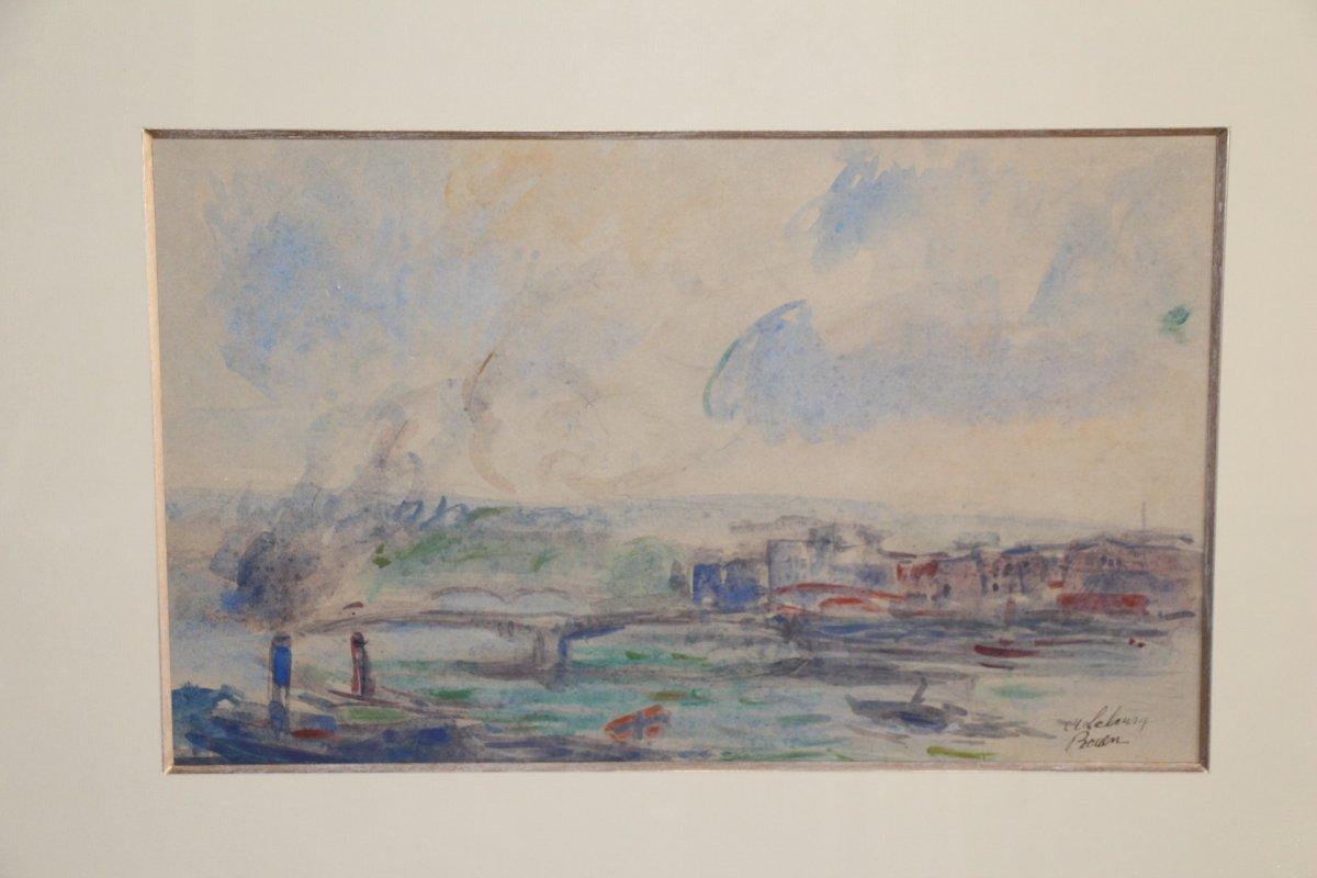 Albert LEBOURG, (1849-1928 ), aquarelle sur papier représentant la ville de Rouen, XIXe siècle.-photo-3