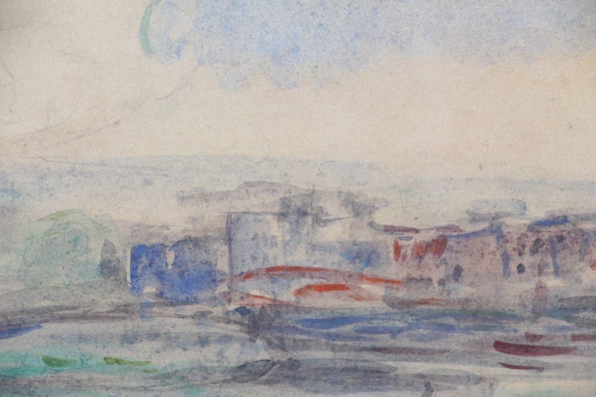 Albert LEBOURG, (1849-1928 ), aquarelle sur papier représentant la ville de Rouen, XIXe siècle.-photo-5