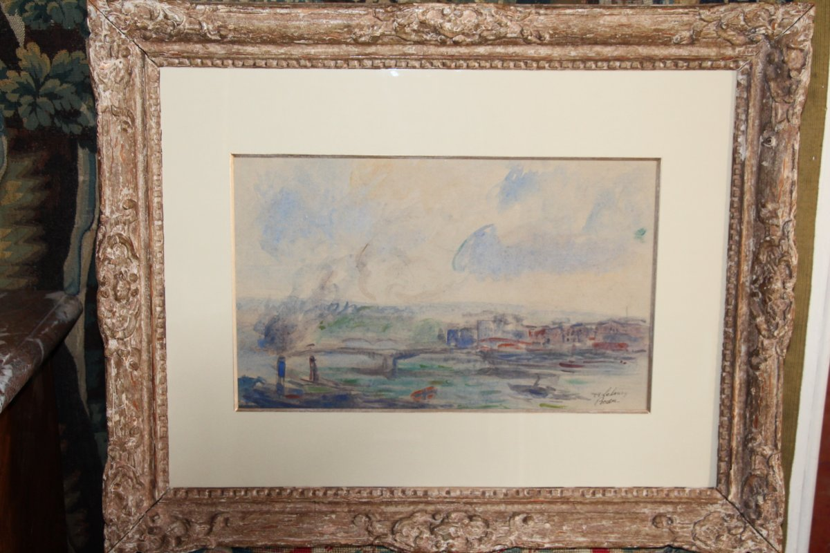 Albert LEBOURG, (1849-1928 ), aquarelle sur papier représentant la ville de Rouen, XIXe siècle.-photo-6