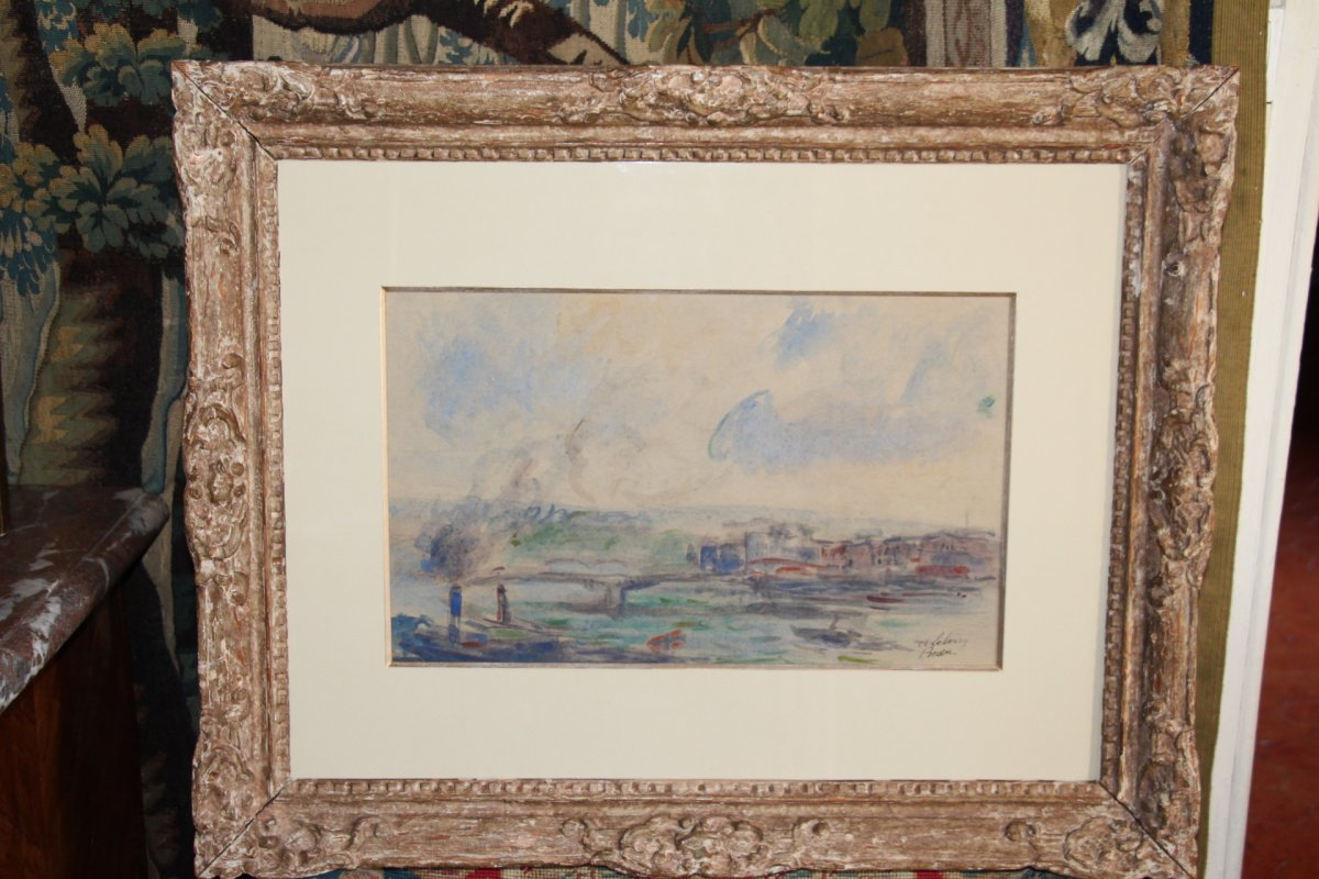 Albert LEBOURG, (1849-1928 ), aquarelle sur papier représentant la ville de Rouen, XIXe siècle.-photo-7