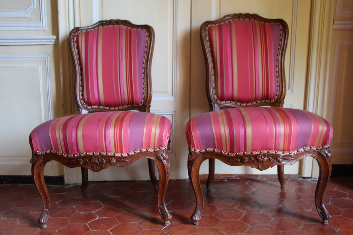 Suite Of Four Walnut Chairs, Stamped Pierre Nogaret In Lyon, 18th Century.