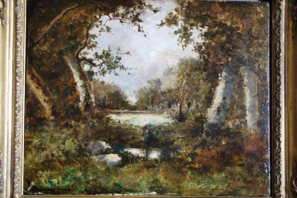 """""""femme au bord de l'eau"""" huile sur bois signée Narcisse Diaz de la Pena (1807-1876)"""