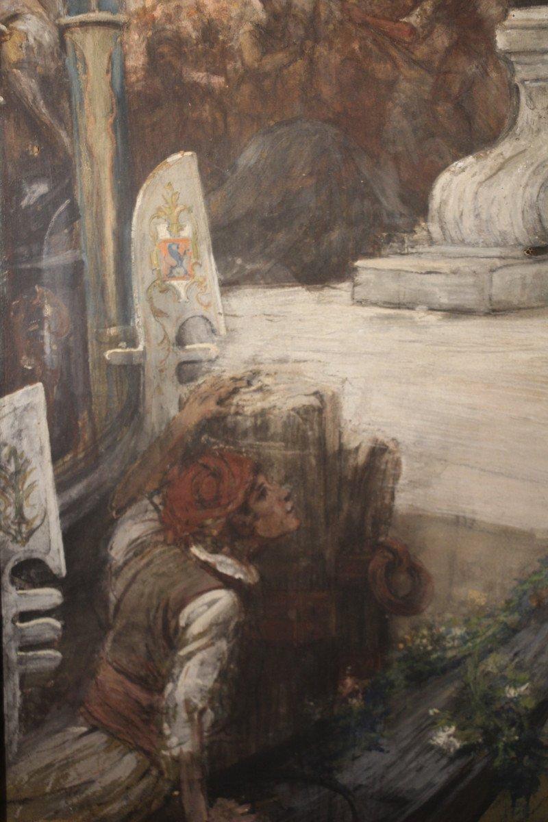 """""""Carnaval de Venise"""", gouache, pastel, crayon, signé Georges CLAIRIN, Orientalisme, XIXe siècle-photo-1"""