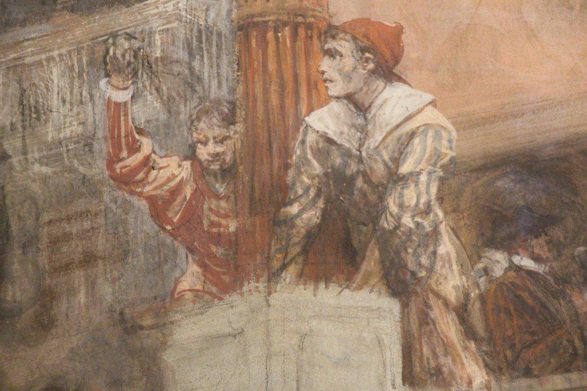 """""""Carnaval de Venise"""", gouache, pastel, crayon, signé Georges CLAIRIN, Orientalisme, XIXe siècle-photo-2"""