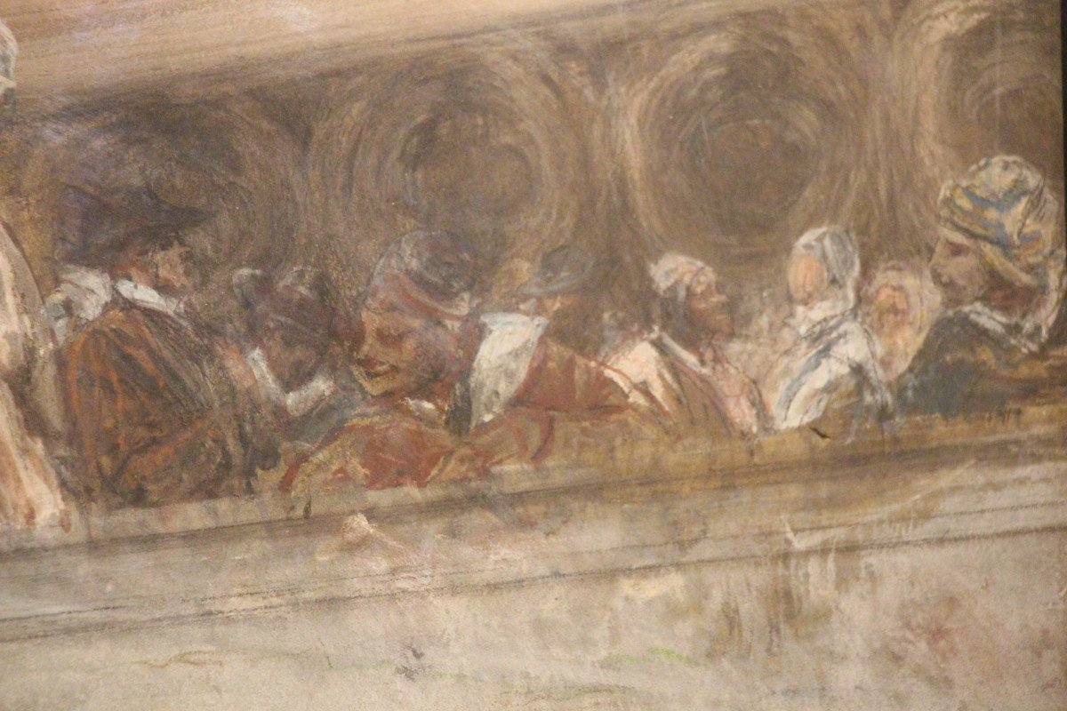 """""""Carnaval de Venise"""", gouache, pastel, crayon, signé Georges CLAIRIN, Orientalisme, XIXe siècle-photo-3"""