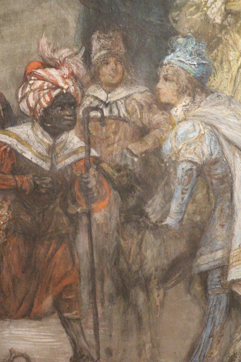 """""""Carnaval de Venise"""", gouache, pastel, crayon, signé Georges CLAIRIN, Orientalisme, XIXe siècle-photo-4"""