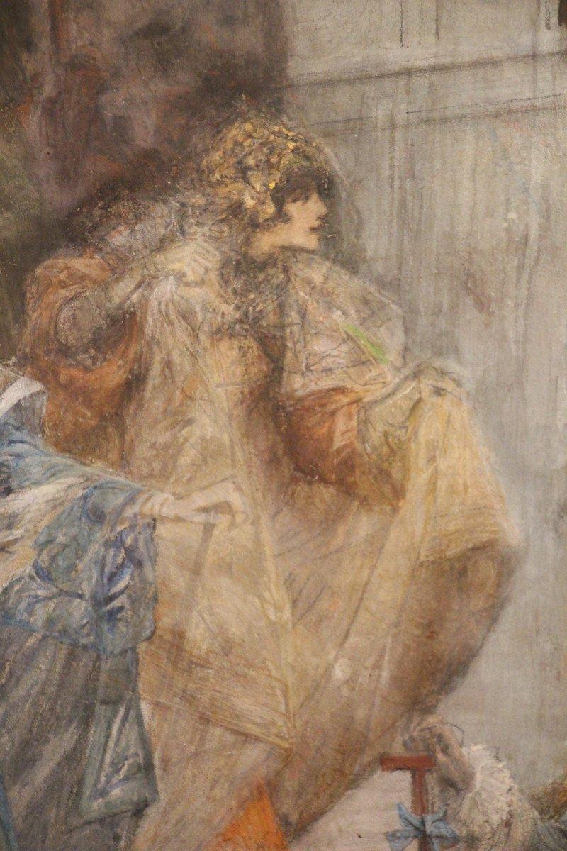 """""""Carnaval de Venise"""", gouache, pastel, crayon, signé Georges CLAIRIN, Orientalisme, XIXe siècle-photo-5"""