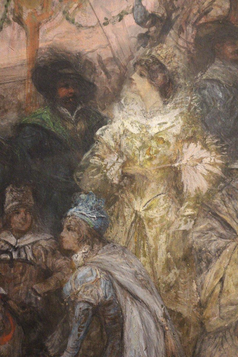 """""""Carnaval de Venise"""", gouache, pastel, crayon, signé Georges CLAIRIN, Orientalisme, XIXe siècle-photo-6"""