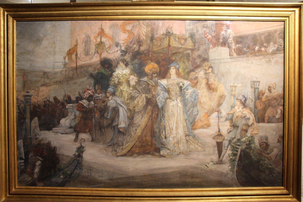 """""""Carnaval de Venise"""", gouache, pastel, crayon, signé Georges CLAIRIN, Orientalisme, XIXe siècle-photo-7"""