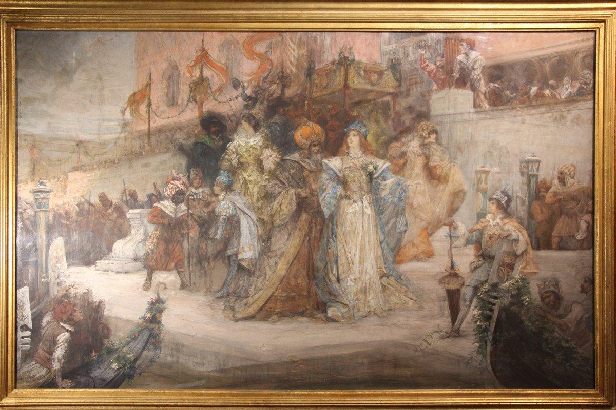 """""""Carnaval de Venise"""", gouache, pastel, crayon, signé Georges CLAIRIN, Orientalisme, XIXe siècle"""