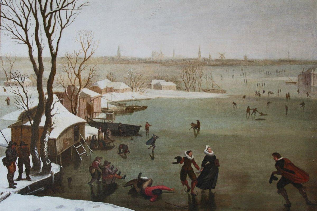 """""""Patineurs sur un lac gelé"""", école Hollandaise de la fin du XVIe siècle"""