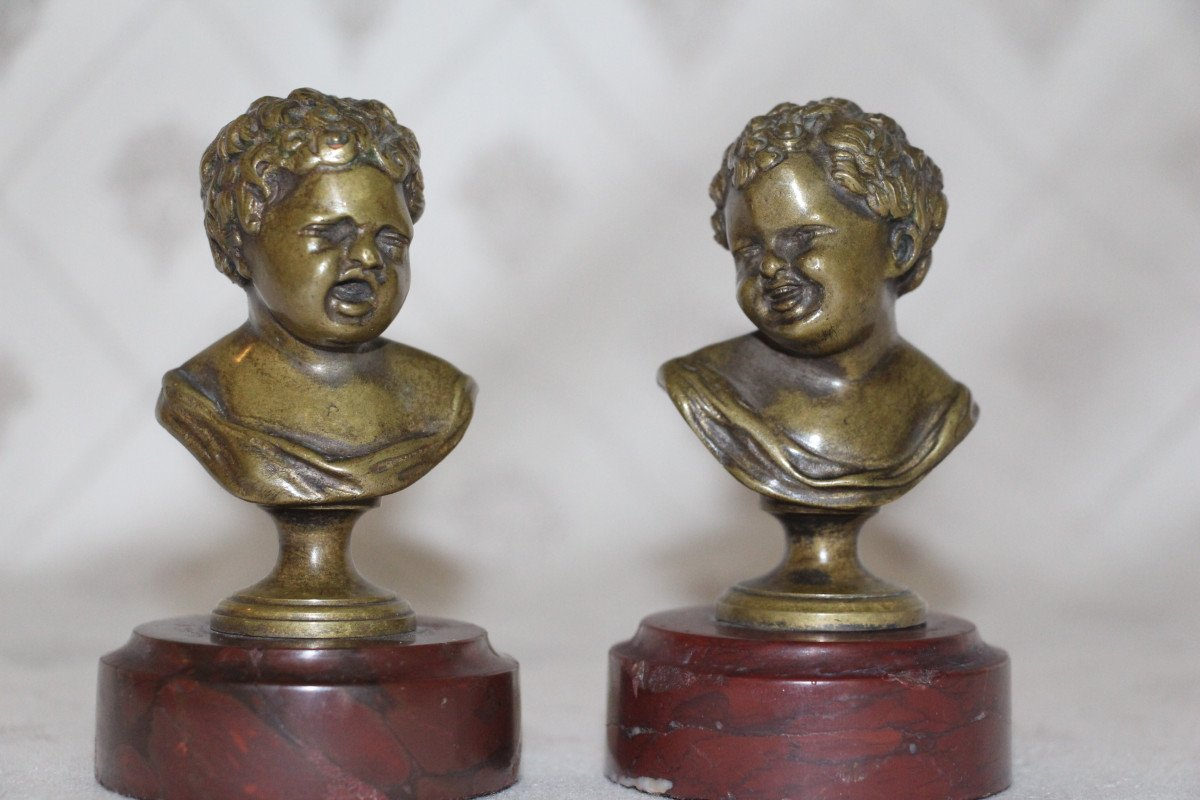 """Sceaux en bronze représentant """"Jean qui rit Jean qui pleure""""d'après Houdon, XIXe-photo-1"""