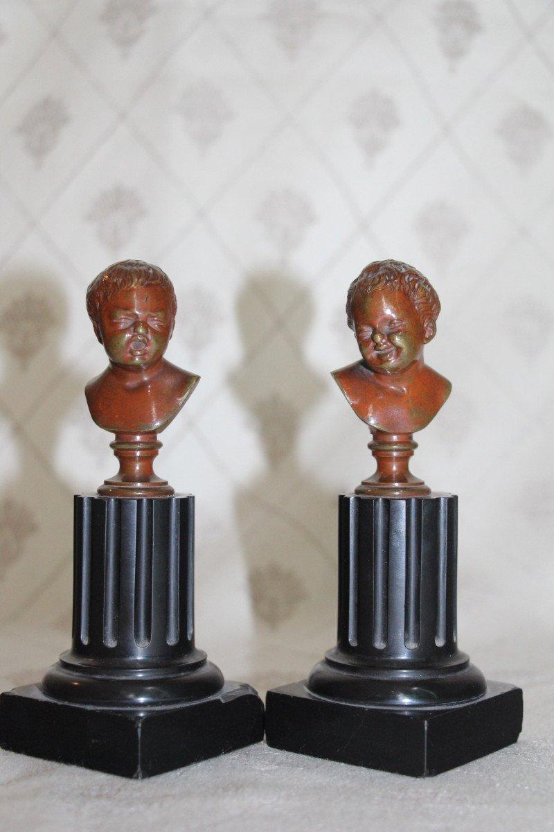 """Sceaux en bronze représentant """"Jean qui rit Jean qui pleure""""d'après Houdon, XIXe-photo-2"""