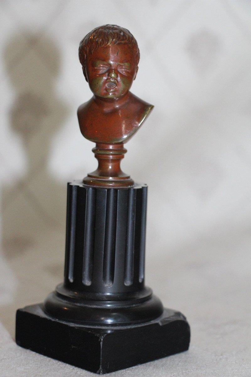 """Sceaux en bronze représentant """"Jean qui rit Jean qui pleure""""d'après Houdon, XIXe-photo-3"""