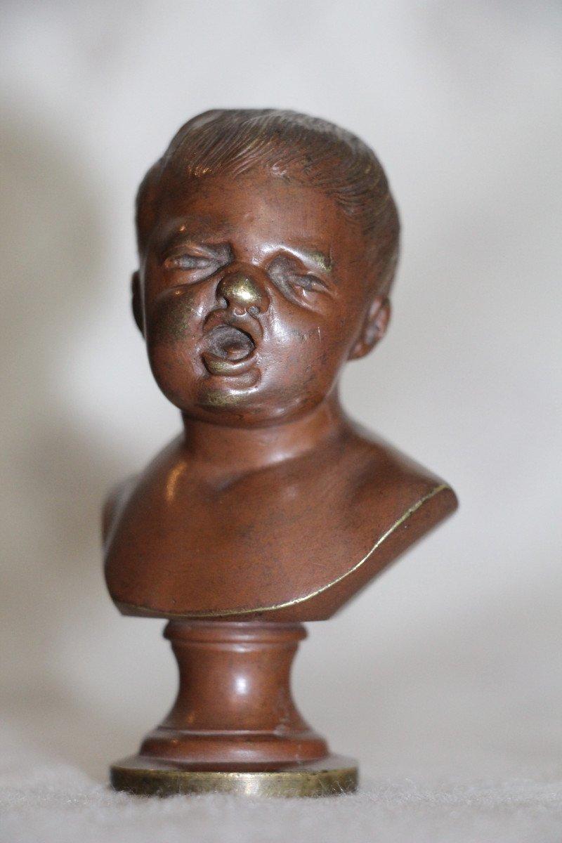 """Sceaux en bronze représentant """"Jean qui rit Jean qui pleure""""d'après Houdon, XIXe-photo-5"""