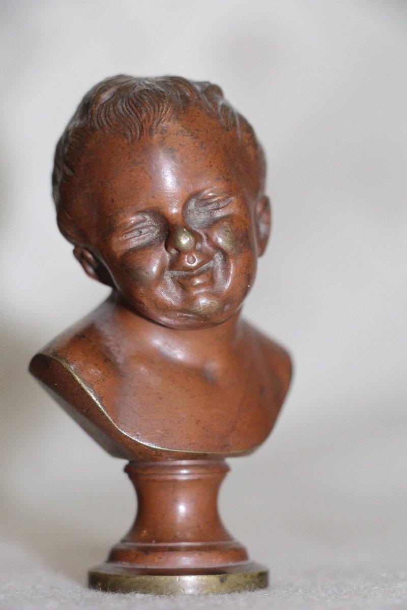 """Sceaux en bronze représentant """"Jean qui rit Jean qui pleure""""d'après Houdon, XIXe-photo-6"""