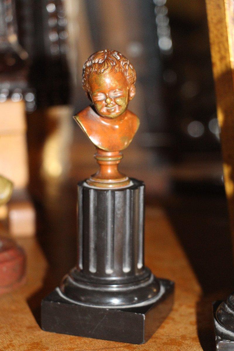 """Sceaux en bronze représentant """"Jean qui rit Jean qui pleure""""d'après Houdon, XIXe-photo-7"""