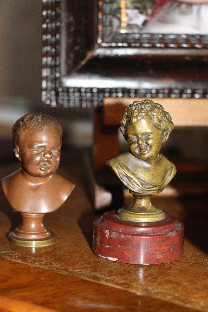 """Sceaux en bronze représentant """"Jean qui rit Jean qui pleure""""d'après Houdon, XIXe-photo-8"""