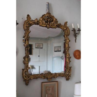 miroir en bois doré époque louis XV, XVIII e siècle