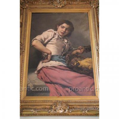 La Belle Espagnole , Huile Sur Toile Signée Regnier,  XIXe Siècle