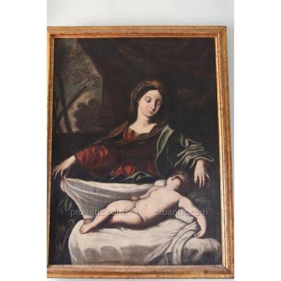 """Huile Sur Toile """" Vierge à l'Enfant """"école Italienne , XVIIe Siècle."""
