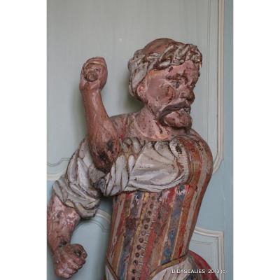 Sculpture polychrome en bois représentant un Turc, XVIIIe s.