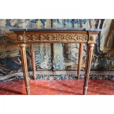 Console In Golden Wood, Turquin Marble, Louis XVI, Eighteenth