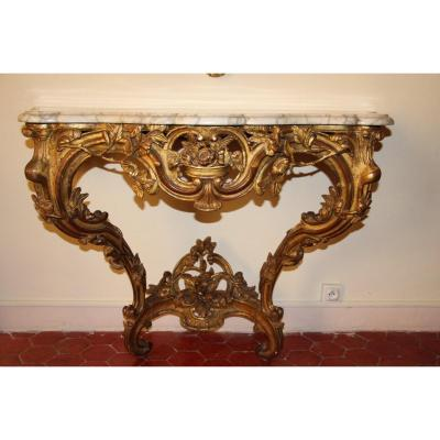 Console In Golden Wood, Marble Top, Louis XV Period, Provençal, Around 1750, XVIIIth Century.