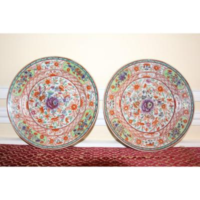 Pair Of Plates, China, Famille Verte, Circa 1780, Late 18th Century