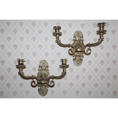 Pair Of Gilt Bronze Sconces, Empire Period, Early 19th Century.