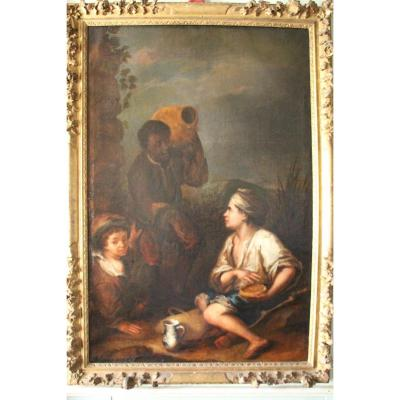 "Oil on canvas depicting ""Three children"", Spanish school of the 17th century with an exceptional carved and gilded wooden frame with flowers and foliage from the time of the Regency. Our painting is to be compared to the work of Bartolomé Esteban MURILLO, born in Seville on December 31, 1617 and died in the same city on April 3, 1682. Spanish Baroque painter of the 17th century, he is with Vélasquez, Zurbaràn, and Ribera l ' one of the main representatives of the Golden Age in painting and the leading cheh of the Seville school, Spain's second artistic center in the 17th century. Although the main part of his works are religious like ""the virgin of the rosary"", he is very famous for his genre paintings, particularly portraits of women and especially poor children, who have given daily life scenes their letter. from nobility to the baroque age and int made its fame. Our painting is therefore a very good example of this pictorial production of the Spanish Baroque echoing directly the work of this immense artist ""Three children"" in his so-called ""aerial"" period around 1670, period of our painting. Murillo's painting is on display at the Fitzwilliam Museum in Cambridge. In perfect condition. Private collection. Dimensions: h.190 cm x l.130 cm."