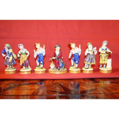 Set Of 7 Porcelain Figures From Saxony, 19th Century