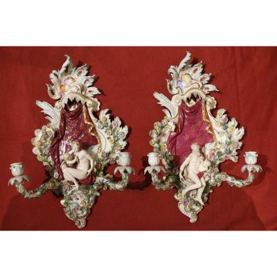 Large Pair Of Rococo Style Saxon Porcelain Sconces, 19th Century