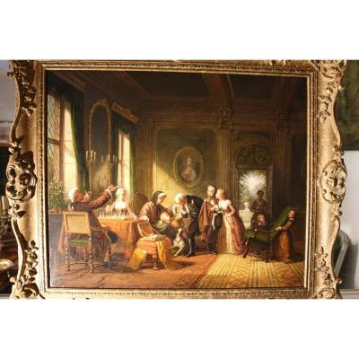 """the Presentations"", Oil On Canvas, Signed Ansi Shearbon, Dated 1868, English School, 19th Century"