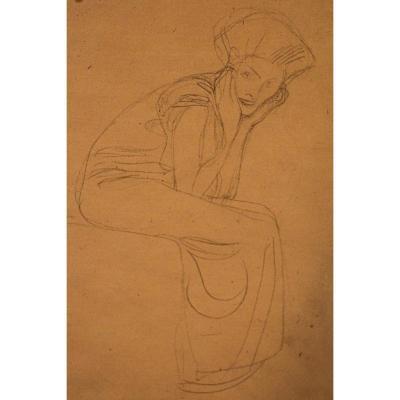 Gustav KLIMT (1862-1918) - Femme assise. Fusain sur papier beige. XXe siècle