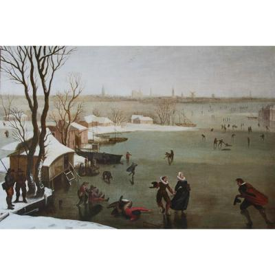 """skaters On A Frozen Lake"", Dutch School From The End Of The 16th Century"