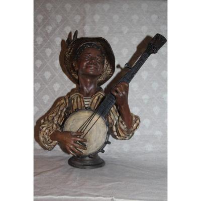 """the Banjo"" Signed Emile-coriolan Guillemin, French Sculptor, 1841-1907."