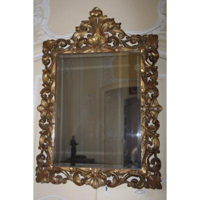 Important Mirror In Richly Carved Gilded Wood, Northern Italy, Early 19th Century.