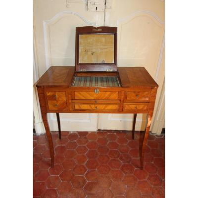 Lady's Dressing Table In Veneer Wood, Transition Circa 1770, 18th Century