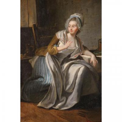 L'Aumône, huile sur toile, XVIIIe siècle