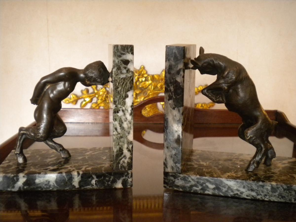 Paire De Serre Livres Marbre Et Bronze Art Deco