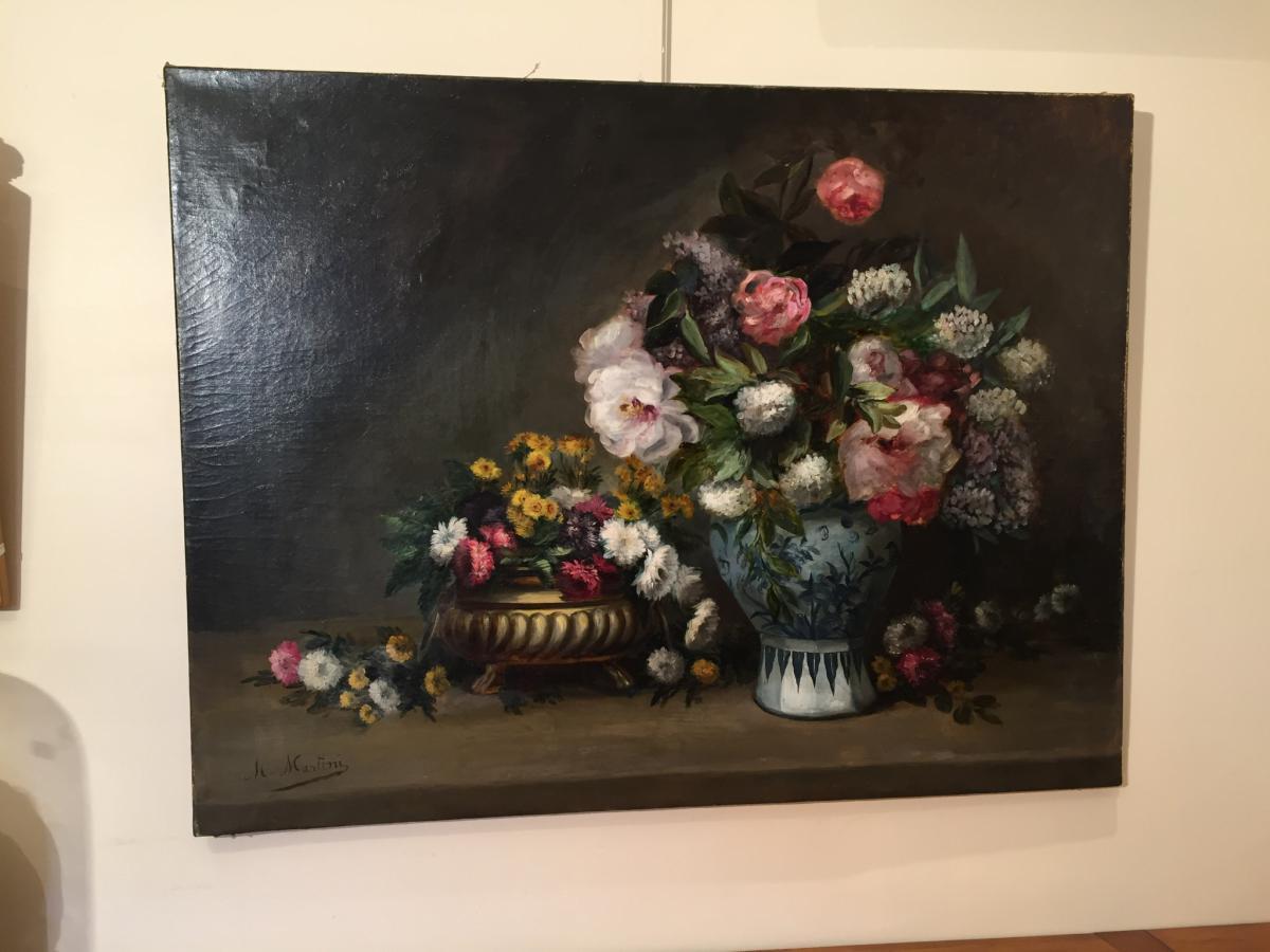 Big Oil On Canvas Flower Bouquet