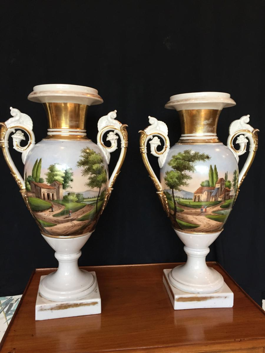 Grands Vases En Porcelaine De Paris