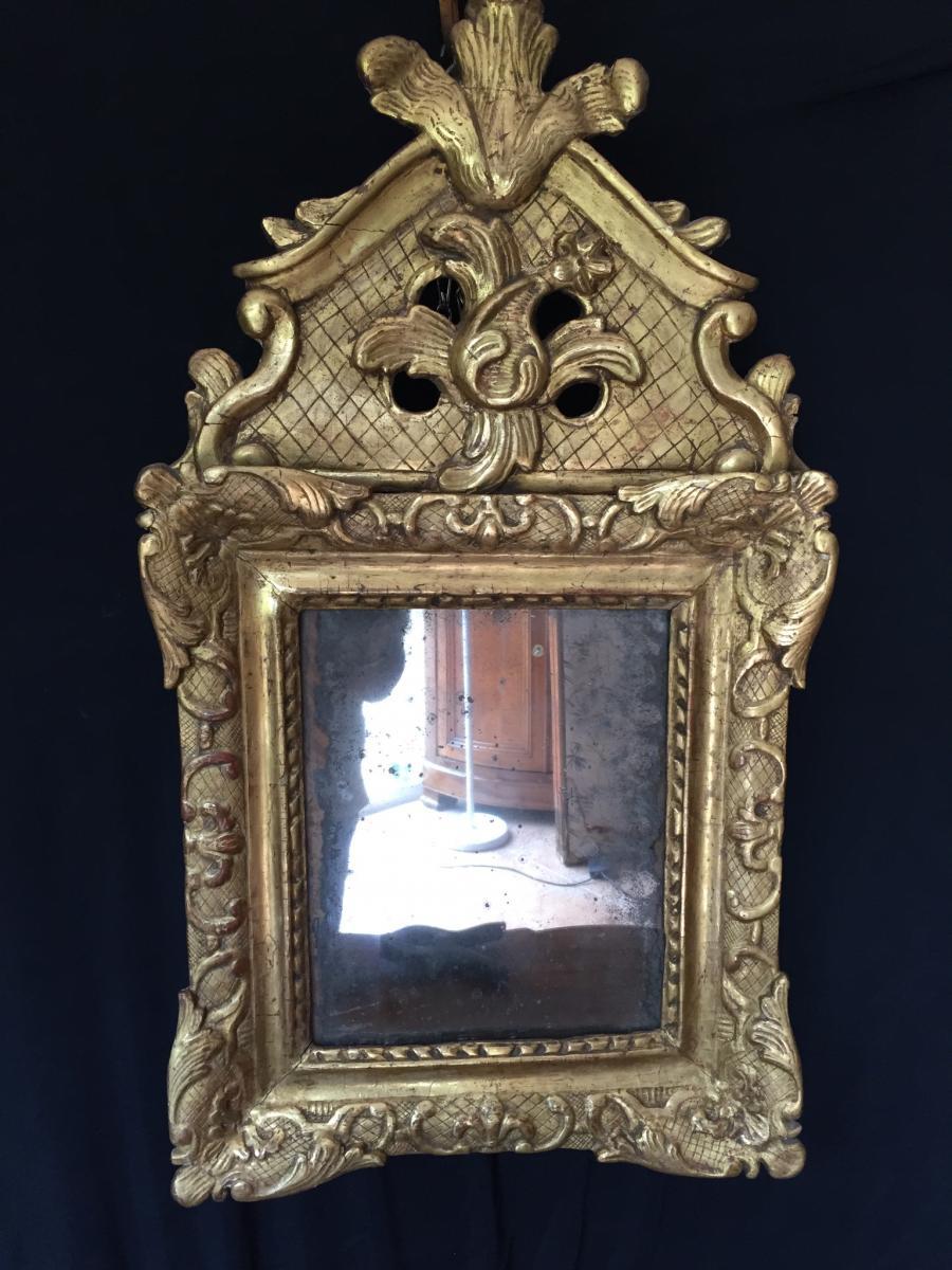 Miroir à Fronton Louis XIV En Bois Dorè
