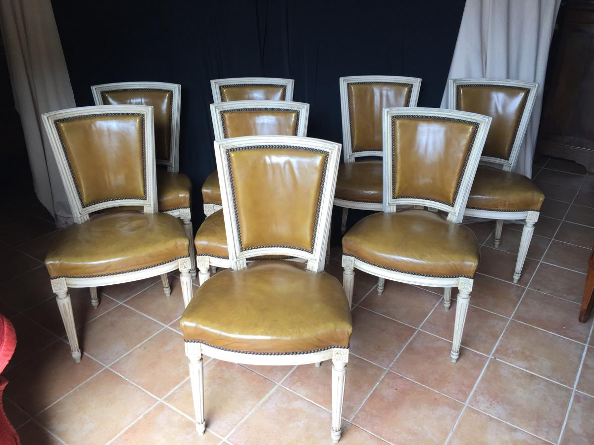 Suite Of Eight Louis XVI Lacquered Beech Chairs