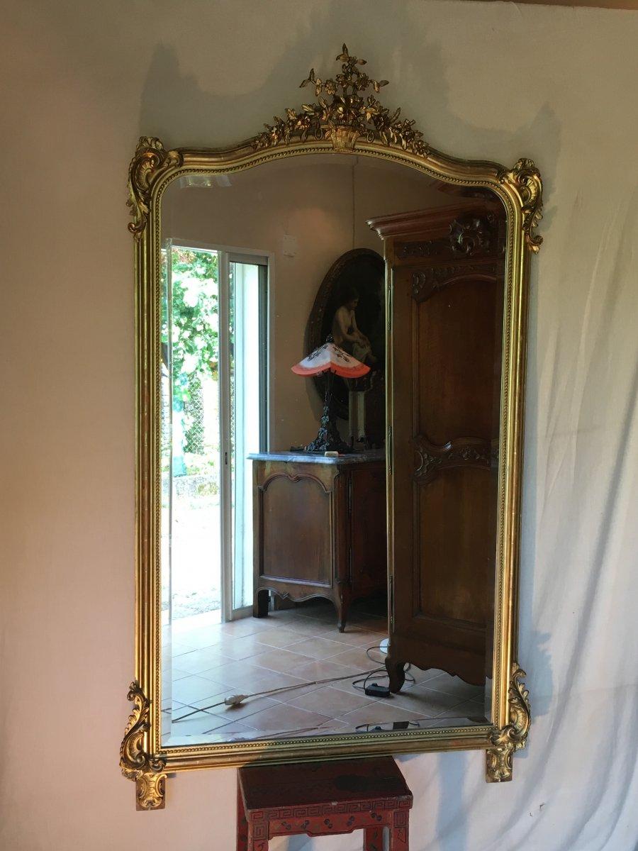 Grand Miroir De Style Louis XV Doré à La Feuille