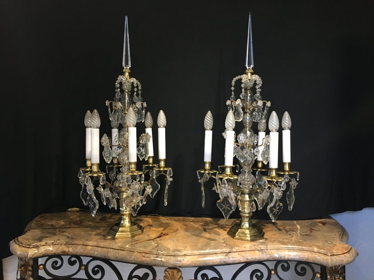 Pair Of Large Bronze Girandoles And Crystals 19th