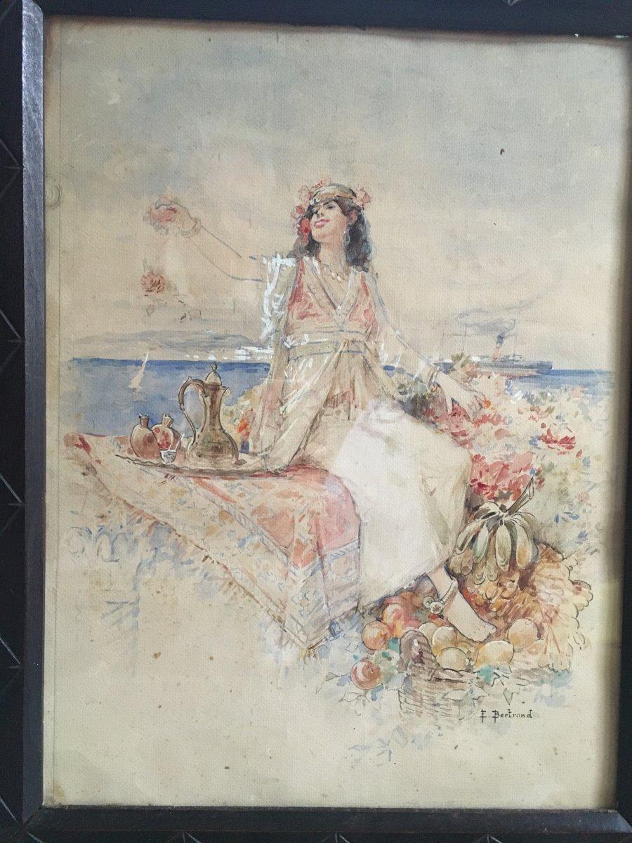 Aquarelle Orientaliste Signée Louis Émile Bertrand -photo-2